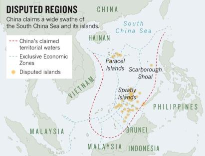 Map of the SCS, distinguishing the EEZ waters (grey dotted line) of various countries in the region. Despite these UNCLOS-protected distinctions, China claims the entire sea (red dotted line).