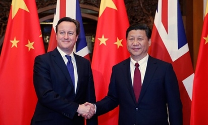 UK Prime Minister David Cameron welcomes Chinese President Xi Jinping to Britain