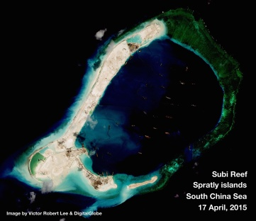 China has constructed Subi Reef, a man-made plot of land that serves to circumvent UNCLOS stipulations to strengthen China's claim of the SCS